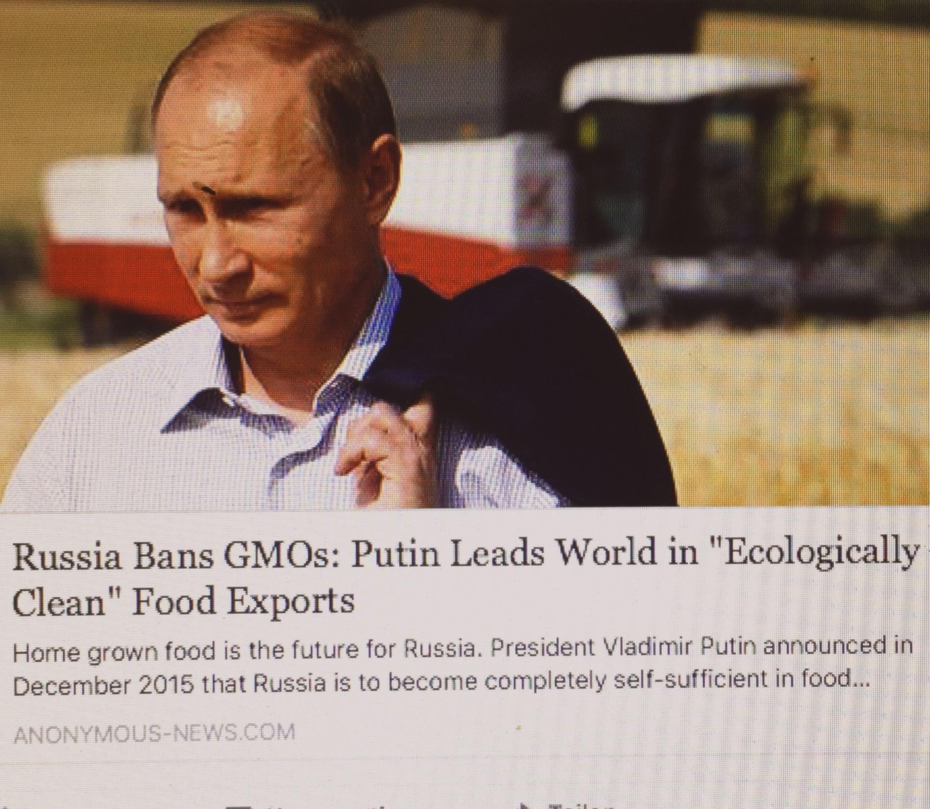 Gemeinsam mit der russischen Bevölkerung setzt Wladimir Putin auf gesunde Selbstversorgung und weltweiten Export qualitativ hochwertiger Produkte.