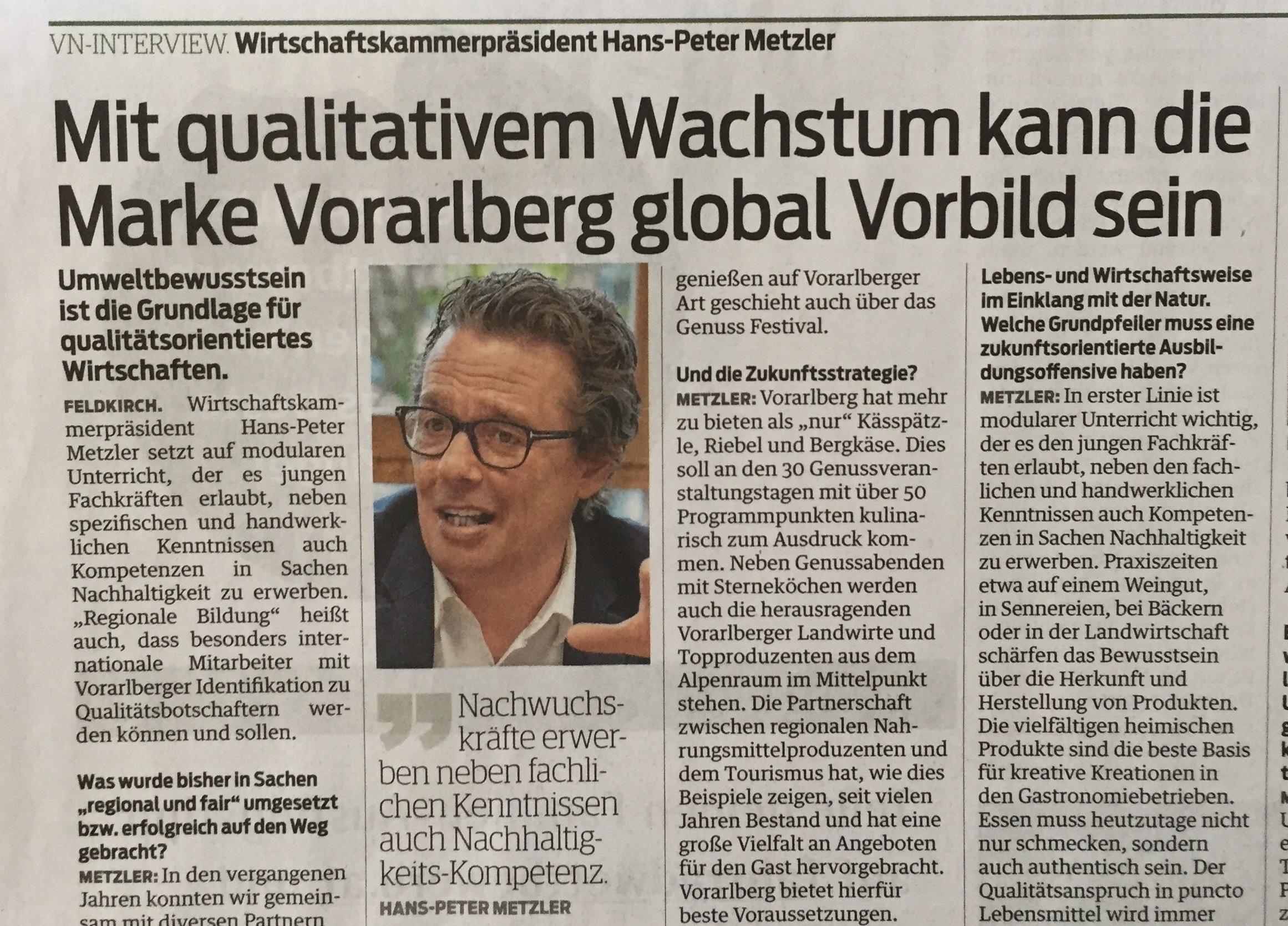 """Wirtschaftskammerpräsident in Vorarlberg Hans-Peter Metzler: """"Umweltbewusstsein ist die Grundlage für qualitätsorientiertes Wirtschaften!"""" (Verena Daum, Vorarlberger Nachrichten, www.progression.at, Garden Eden Organisation)"""