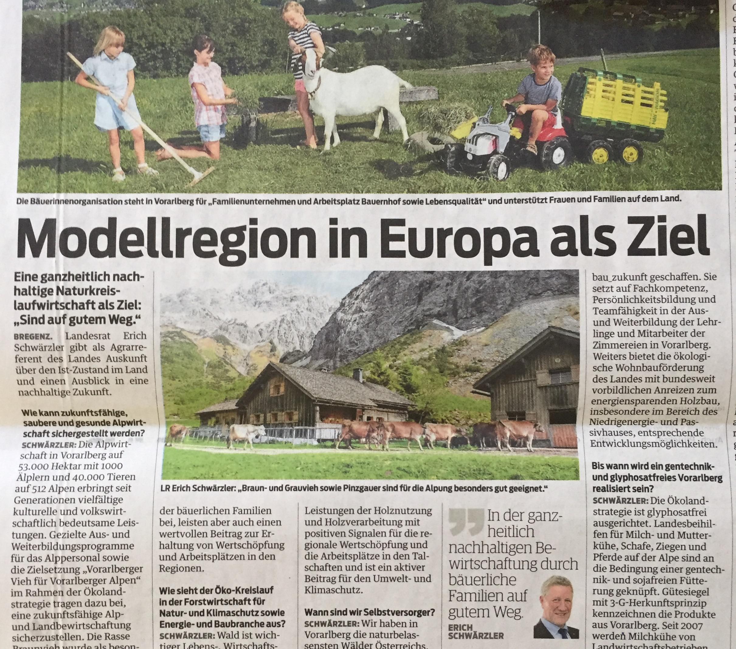 """Modellregion in Europa mit ganzheitlich nachhaltiger Naturkreislaufwirtschaft: """"Sind auf gutem Weg"""", sagt der Vorarlberger Landesrat und Agrarreferent Erich Schwärzler. (Vorarlberger Nachrichten, www.progression.at)"""