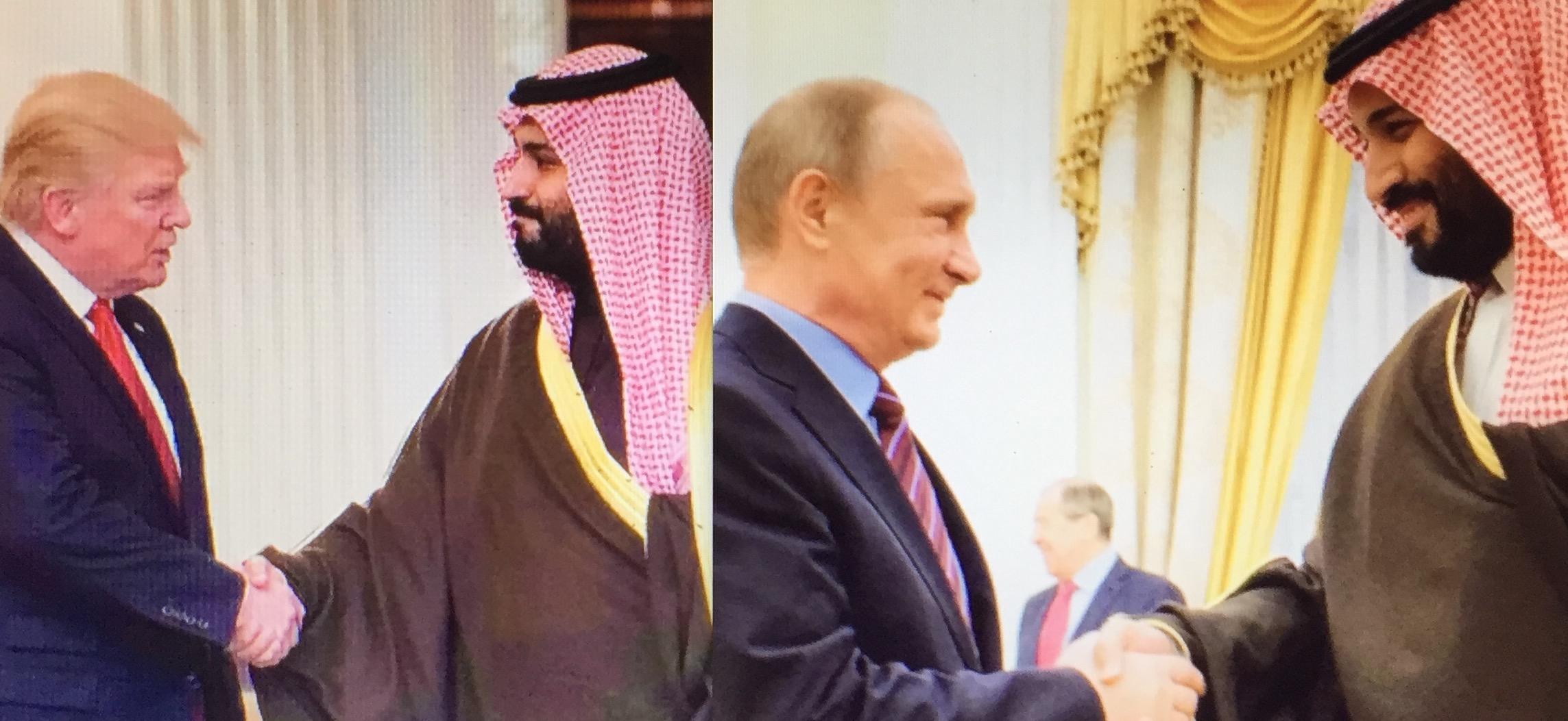 """Der Dealer Donald Trump und der Diplomat Wladimir Putin mit dem gefährlichen saudischen Prinzen Mohammed Bin Salman. Trotz Aggressionen und Sanktionen wird Russland gegenüber Trump und seinem verbündeten saudischen """"Prinzen der Finsternis"""" ausgleichende Vernunft walten lassen."""