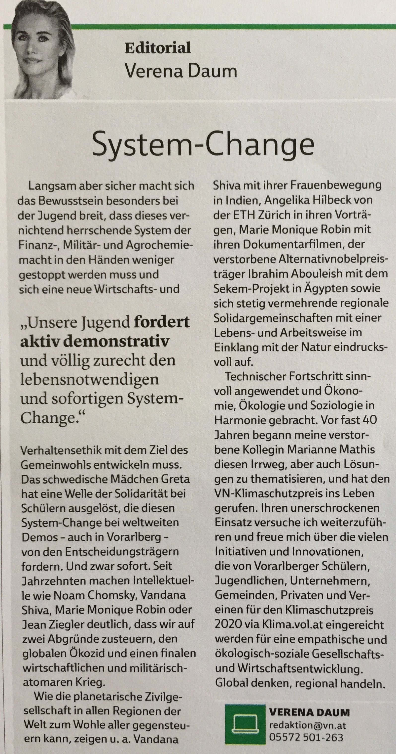 """our youth want's system change now"" editorial by Verena Daum in the magazine ""VN-Klimaschutzpreis 2020"" of Vorarlberger Nachrichten, www.progression.at, www.garden-eden.org"