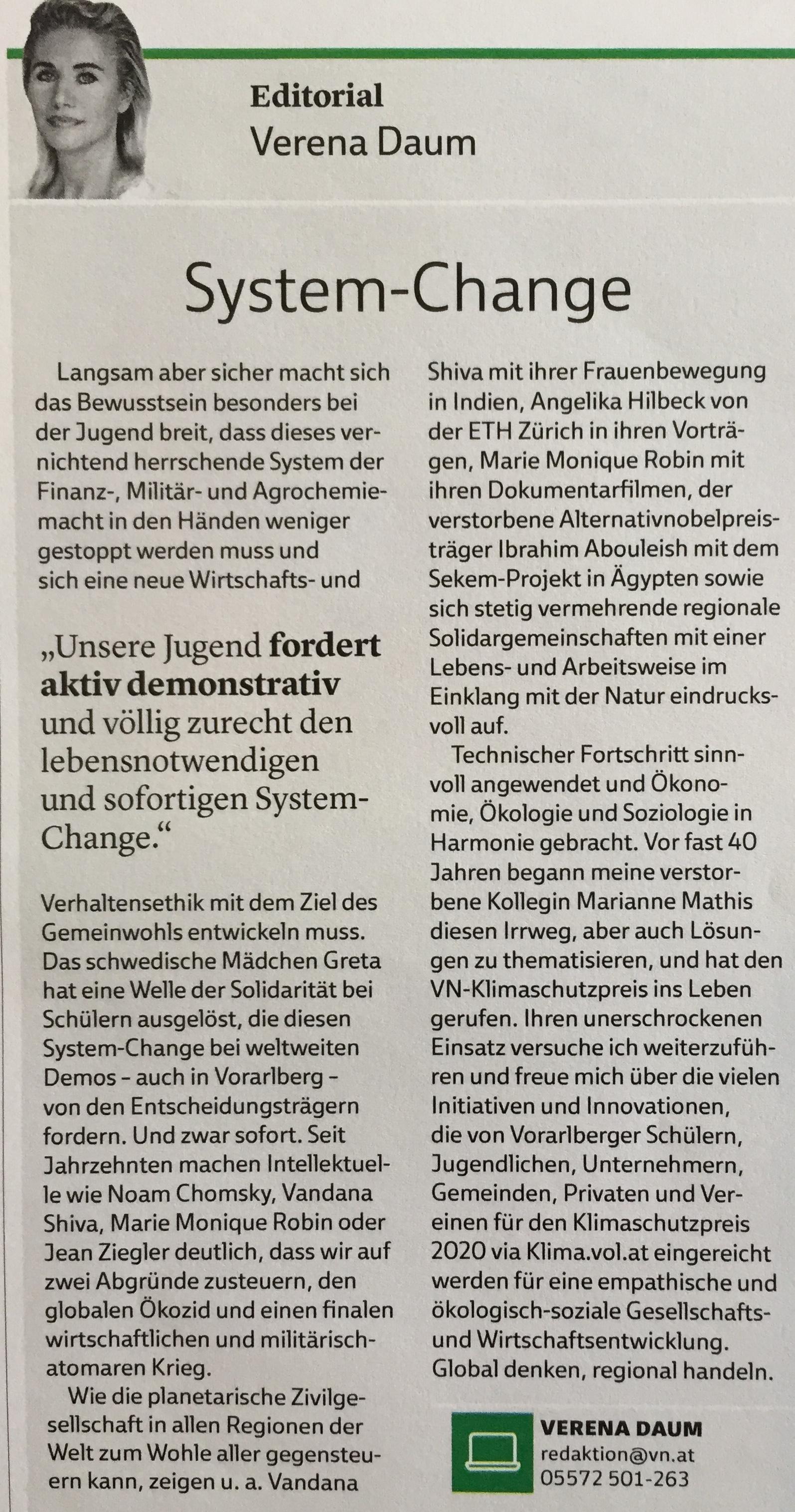 """""""our youth want's system change now"""" editorial by Verena Daum in the magazine """"VN-Klimaschutzpreis 2020"""" of Vorarlberger Nachrichten, www.progression.at, www.garden-eden.org"""