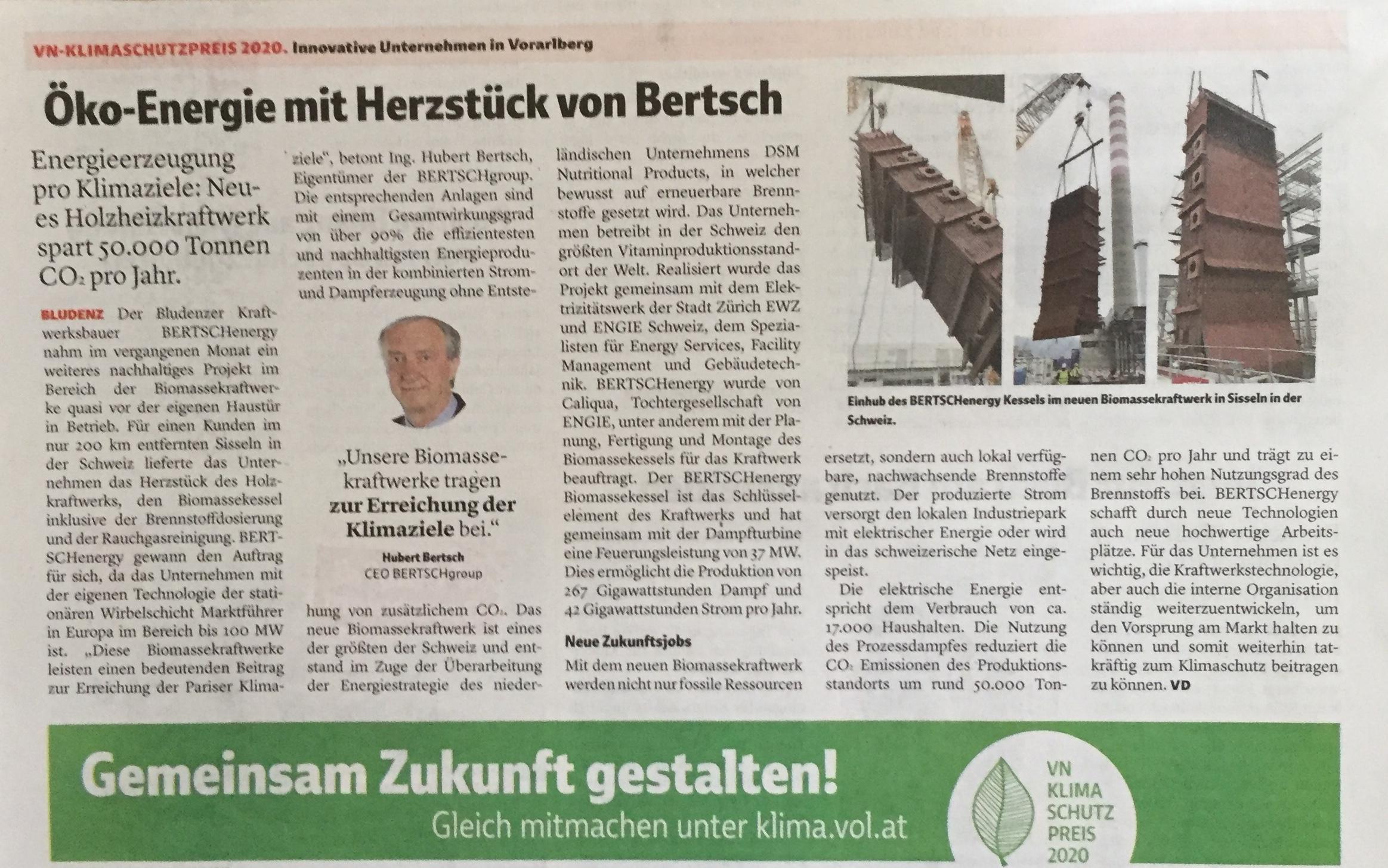"""Ing. Hubert Bertsch, CEO BERTSCHgroup: """"Unsere Biomassekraftwerke leisten einen bedeutenden Beitrag zur Erreichung der Pariser Klimaziele."""" Verena Daum, www.progression.at; Ing. Hubert Bertsch, www.bertsch.at"""