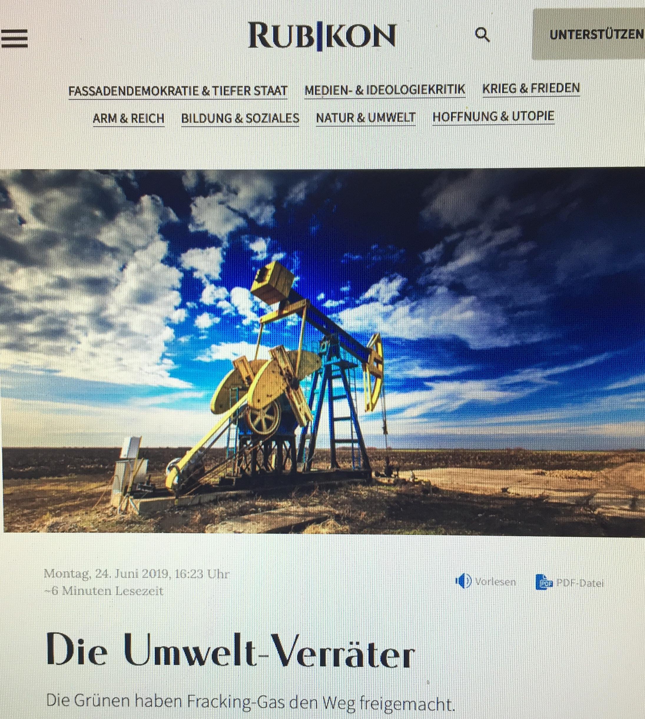 """""""Umwelt-Verräter - in Deutschland haben die Grünen dem Fracking-Gas den Weg freigemacht"""" von Jens Bernert www.rubikon.news; Verena Daum www.progression.at"""