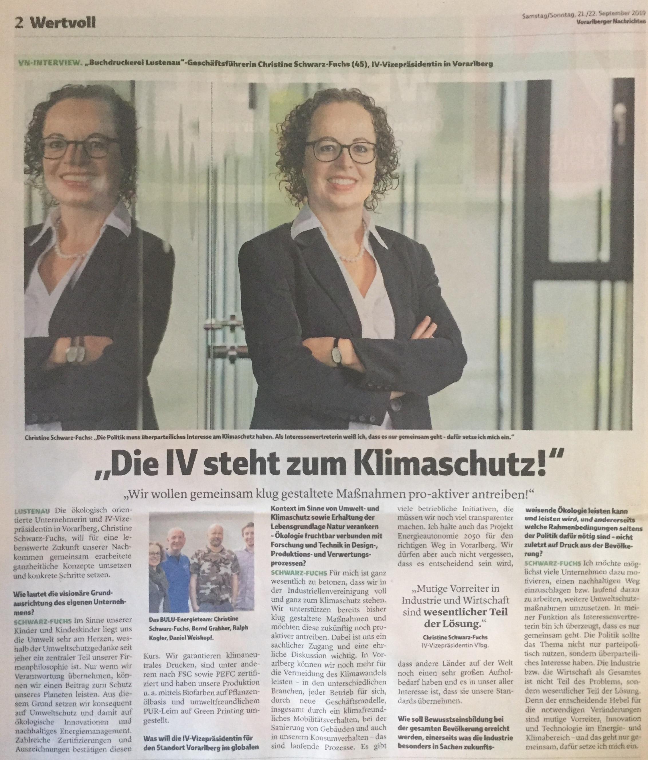 """Christine Schwarz-Fuchs GF www.bulu.at Vizepräsidentin der Industriellenvereinigung Vorarlberg, """"Die IV steht zum Klimaschutz!"""", Extra-Ausgabe """"Wertvoll"""" der Vorarlberger Nachrichten von Verena Daum www.progression.at www.garden-eden.org"""