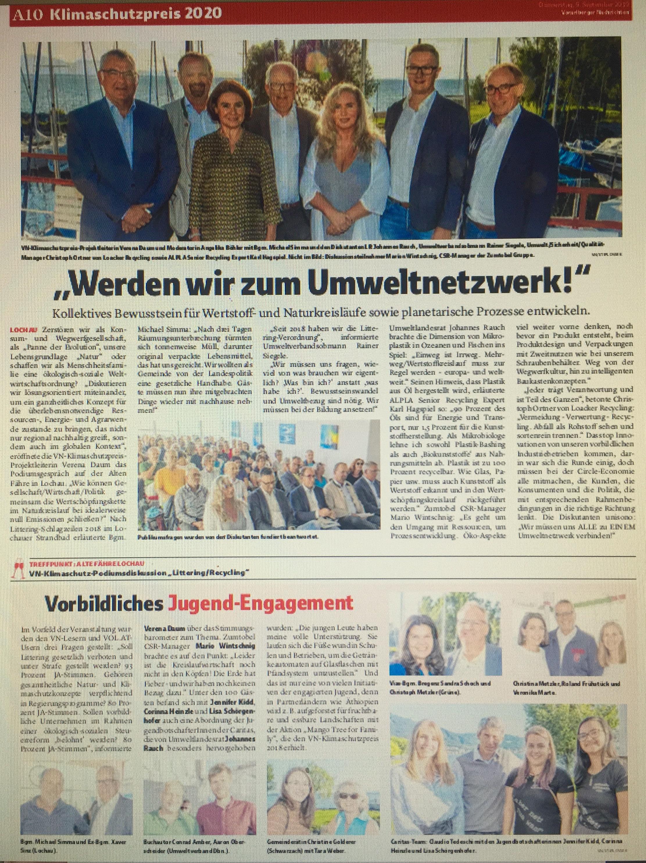 """Podiumsdiskussion """"Littering/100 Prozent Recycling bei null Emissionen"""", Projektleitung Klimaschutzpreis der Vorarlberger Nachrichten Verena Daum www.progression.at"""