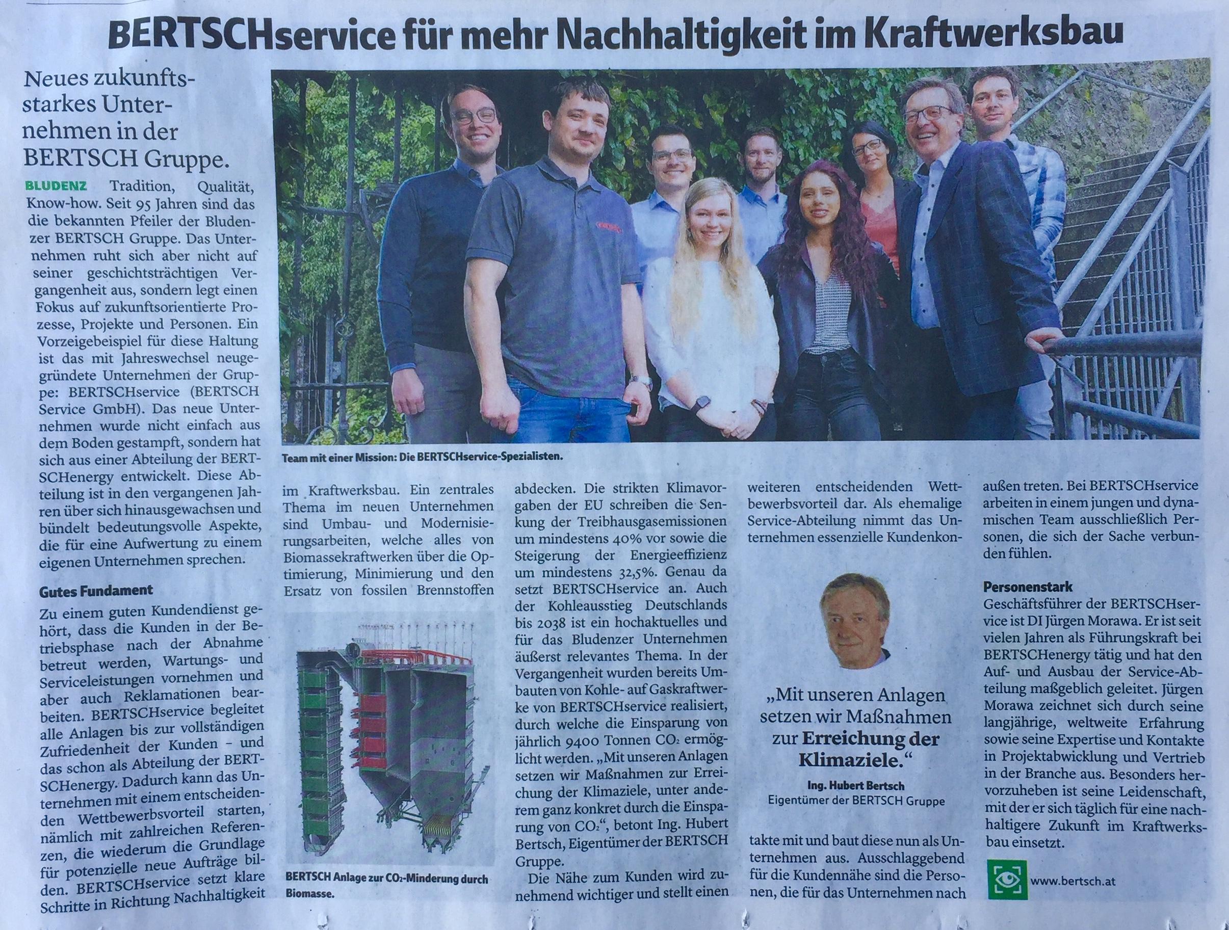 Innovative Ökotechnologien und BERTSCHservice für mehr Nachhaltigkeit im Kraftwerksbau, Ing. Hubert Bertsch www.bertsch.at, Verena Daum www.progression.at