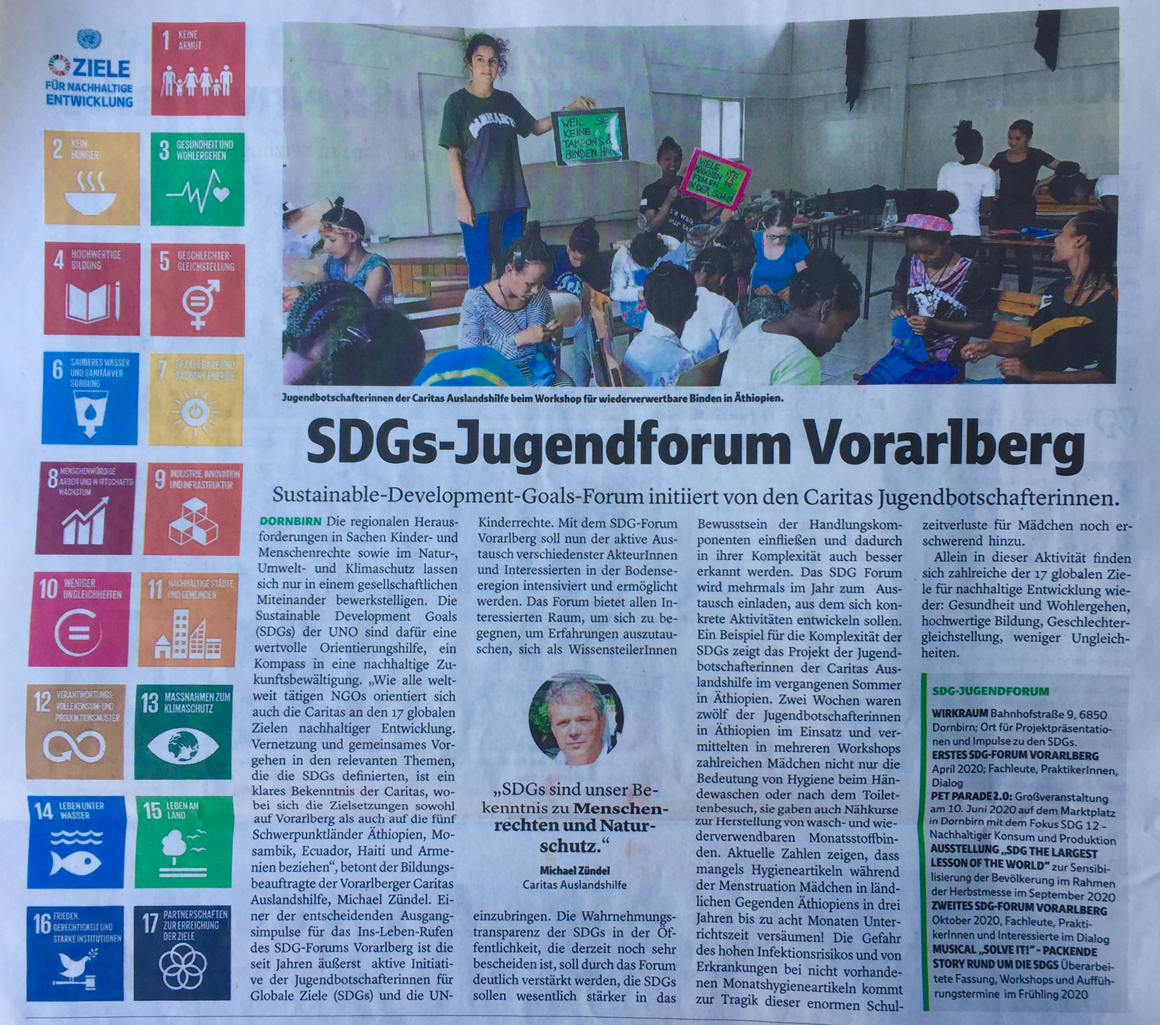 Caritas Jugendbotschafterinnen initiieren Sustainable Development Goals-Forum in Vorarlberg, Michael Zündel Caritas Auslandshilfe, www.caritas-vorarlberg.at, Verena Daum Vorarlberger Nachrichten www.progression.at