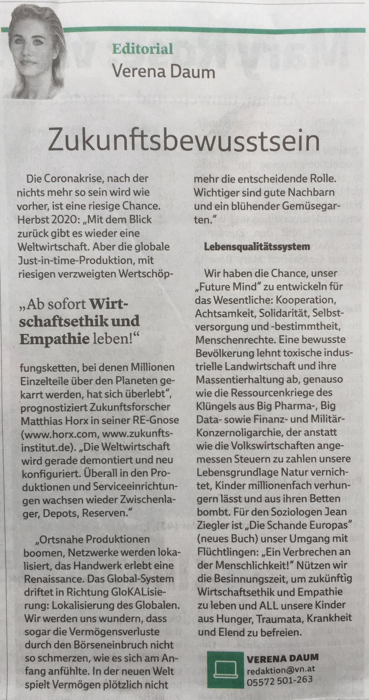 """Editorial in der Extra-Ausgabe """"Bewusst leben"""" der Vorarlberger Nachrichten vom 12. Mai 2020 von Verena Daum www.progression.at"""