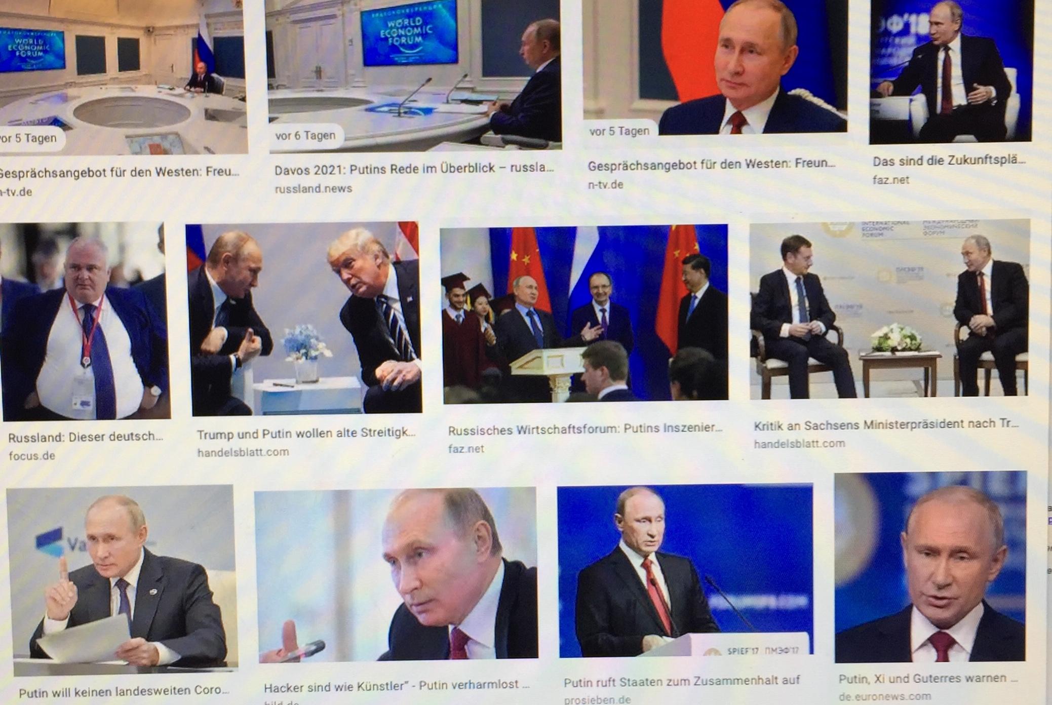 """""""Russland war immer und ist auch heute bereit, einen ehrlichen Dialog mit Europa in Sachen Wirtschaftsbeziehungen zu führen, und wird sich darum bemühen"""", betonte der russische Präsident Wladimir Putin im Rahmen des Weltwirtschaftsforums am 27. Jänner 2021. www.progression.at"""