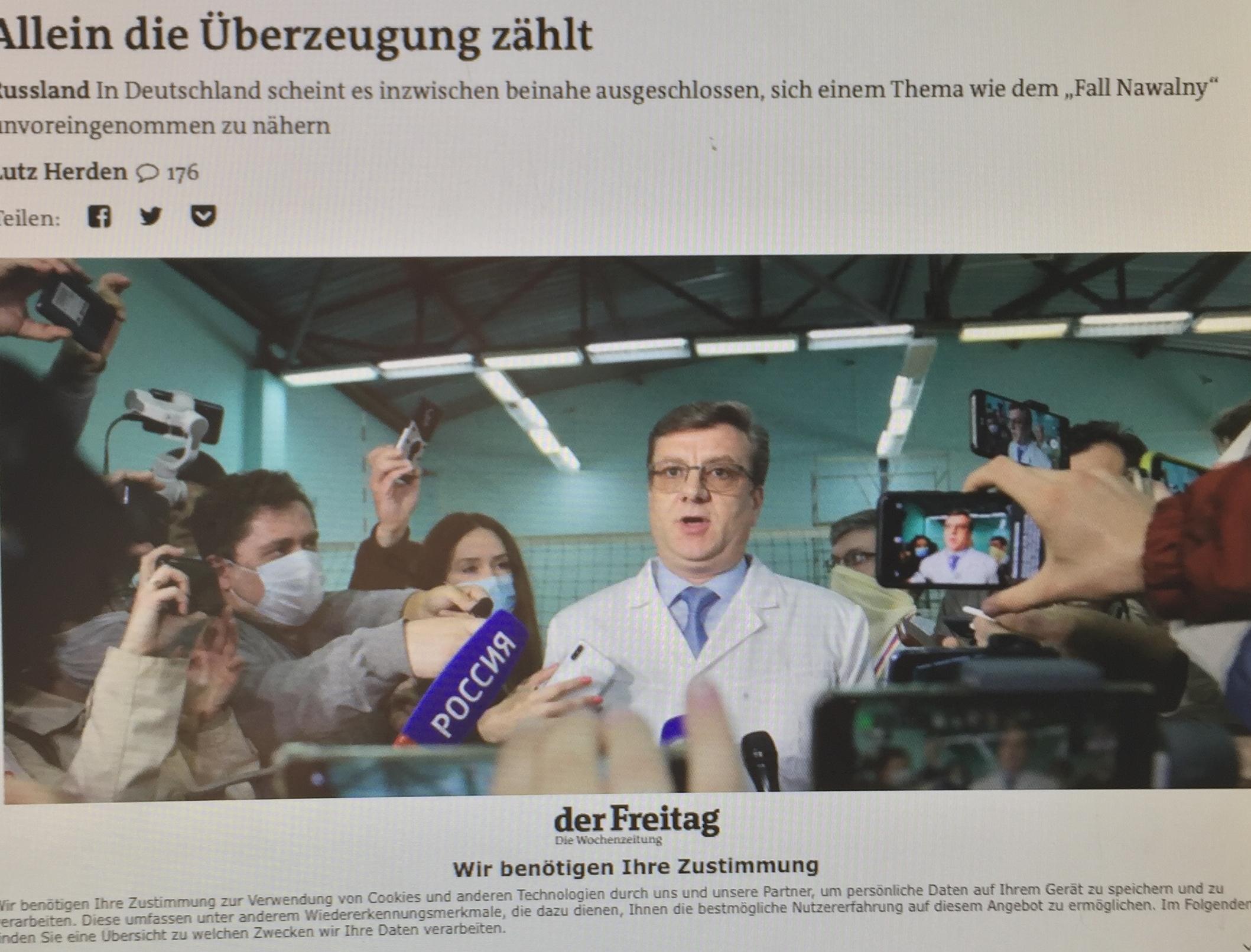 """""""Als im Sommer 2013 nach einem sicheren Ort für den amerikanischen Whistleblower Edward Snowden gesucht wurde, war man in Deutschland weit weniger eifrig"""" als bei dem bekanntlich faschistisch-rassistischen """"Oppositionellen"""" (ohne Programm) Alexej Nawalny, der gegen den von 80 % der russischen Bevölkerung gewählten Präsidenten Wladimir Putin ganz offensichtlich von transatlantischen Interessen in Stellung gebracht wird. Dies stellte Politik-Redakteur Lutz Herden auf Freitag.de bereits im August 2020 fest mit seiner schlüssigen Analyse """"Allein die Überzeugung zählt - In Deutschland scheint es inzwischen beinahe ausgeschlossen, sich einem Thema wie dem ,Fall Nawalny' unvoreingenommen zu nähern"""". (www.progression.at)"""