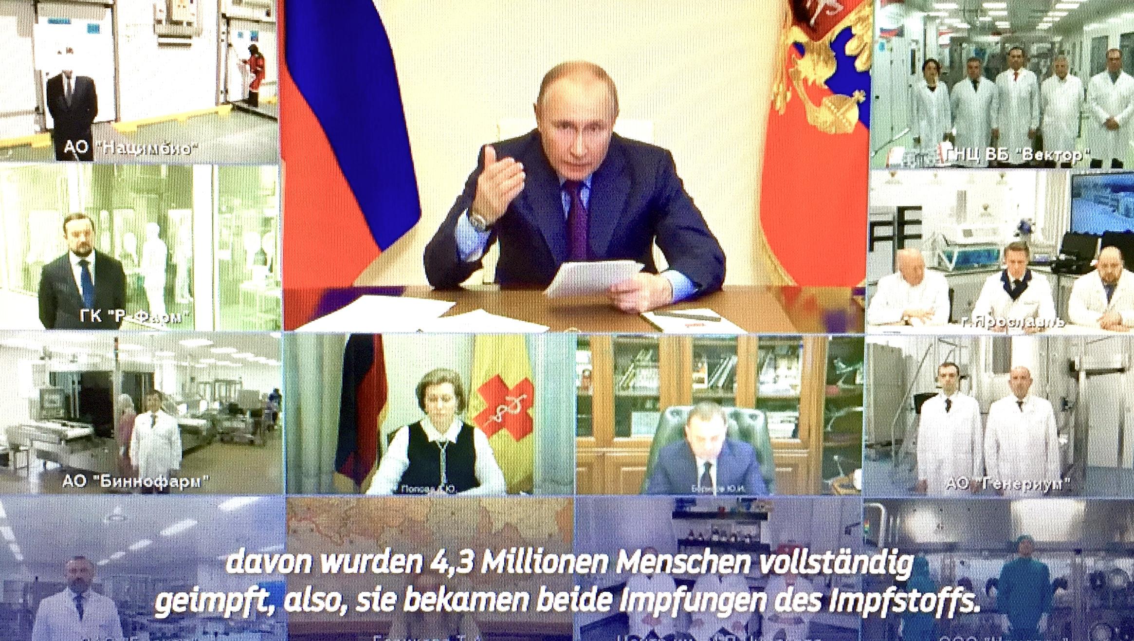 """""""Überraschenderweise behauptete einer der verantwortlichen Vertreter der Europäischen Kommission im Vorfeld unseres Treffens, wie wir in diesem Moment mitgeteilt wurde: ,Wir brauchen Sputnik V nicht!' So eine seltsame Aussage. Wir drängen niemandem etwas auf. Viele Menschen in Europa wissen nicht, dass Russland längst einen offiziellen Antrag auf Registrierung von Sputnik V bei der Europäischen Arzneimittelagentur gestellt hat - am 21. Jänner 2021. Erst am 4. März erhielten wir eine Benachrichtigung über den Beginn der Antragsprüfung"""", informierte der russischen Präsident Wladimir Putin via Online-Konferenz.  Von Verena Daum (www.progression.at, www.garden-eden.org)"""