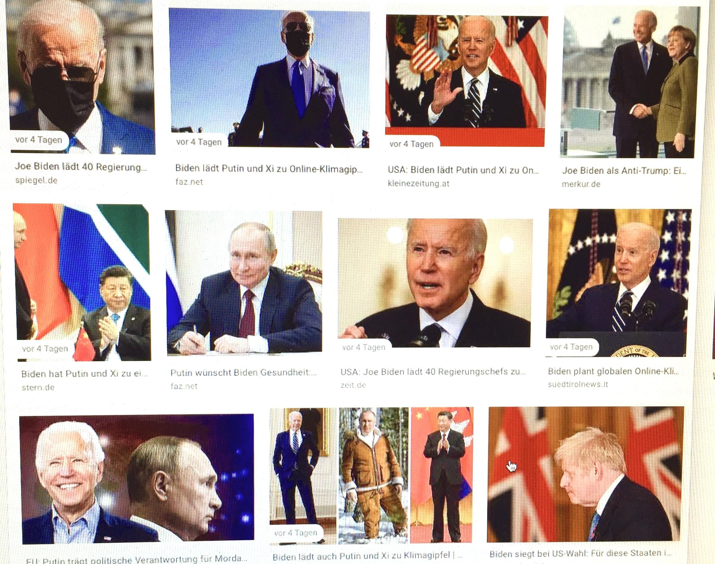 """Bei allem Russland-Bashing und Handelskrieg mit China ist Joe Biden klar, dass er weder beim Klimaschutz im Alleingang noch weltwirtschaftlich mit Konfrontationskurs Erfolge einfahren kann. Der Leitsatz des russischen Präsidenten Wladimir Putin """"Kooperation statt Konfrontation"""" ist beim US-Amtskollegen Joe Biden zumindest erst mal beim Klimaschutz angekommen. Er lud neben Staats- und Regierungschefs aus mehr als 40 Ländern auch Wladimir Putin und Xi Jinping zum Klimagipfel am 22. und 23. April 2021 ein. Der Klimawandel war für Biden Wahlprogramm - um liefern zu können, braucht er so viele Länder wie möglich im Boot - allen voran Big Player wie Russland und China.  Verena Daum (www.progression.at, www.garden-eden.org)"""
