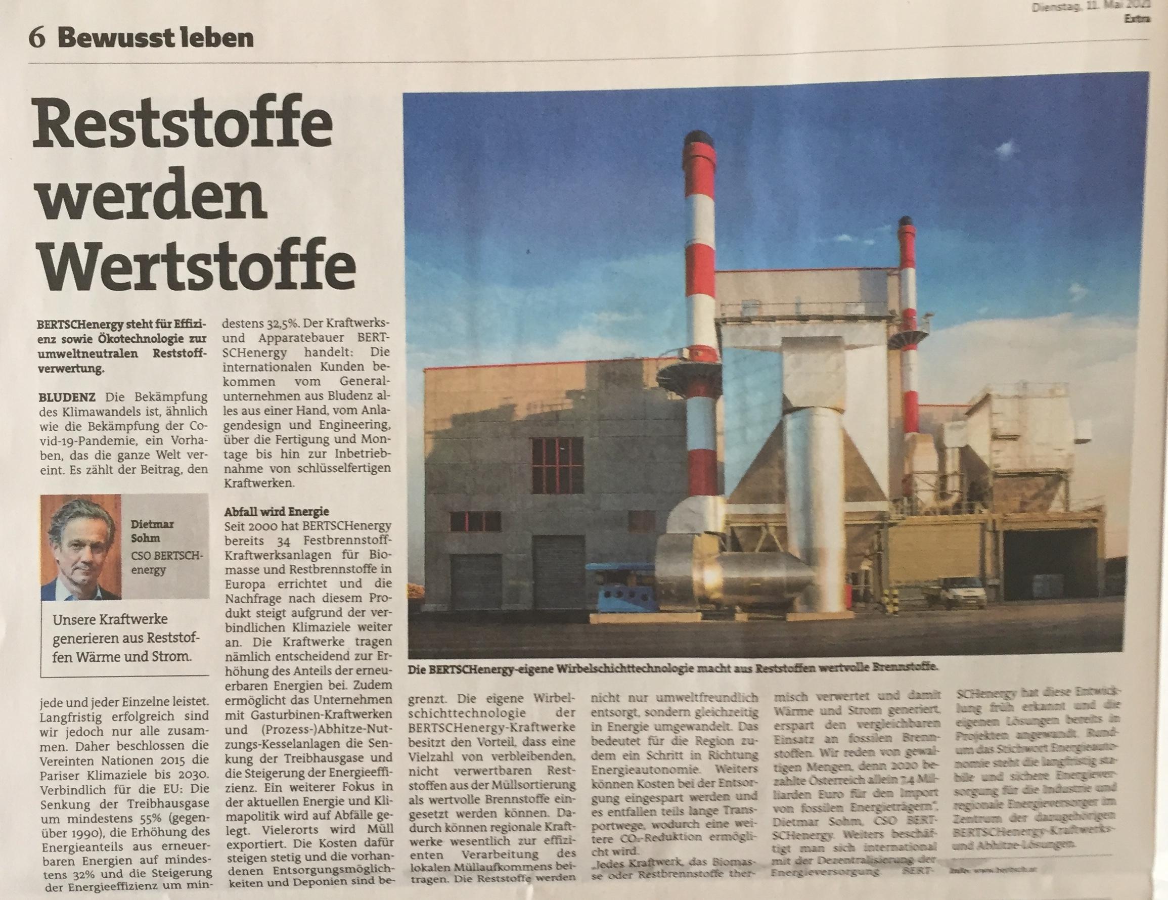 """BLUDENZ Die Bekämpfung des Klimawandels ist, ähnlich wie die Bekämpfung der Covid-19 Pandemie, ein Vorhaben, das die ganze Welt vereint. Es zählt der Beitrag, den jede und jeder Einzelne leistet. Langfristig erfolgreich sind wir jedoch nur alle zusammen. Daher beschlossen die Vereinten Nationen 2015 die Pariser Klimaziele bis 2030. Verbindlich für die EU: Die Senkung der Treibhausgase um mindestens 55% (gegenüber 1990), die Erhöhung des Energieanteils aus erneuerbaren Energien auf mindestens 32% und die Steigerung der Energieeffizienz um mindestens 32,5%.  Von Claudia Bertsch (Head of Marketing BERTSCHgroup, der Artikel ist am 11.5.2021 in der Extra-Ausgabe """"Bewusst leben"""" der Vorarlberger Nachrichten erschienen)"""