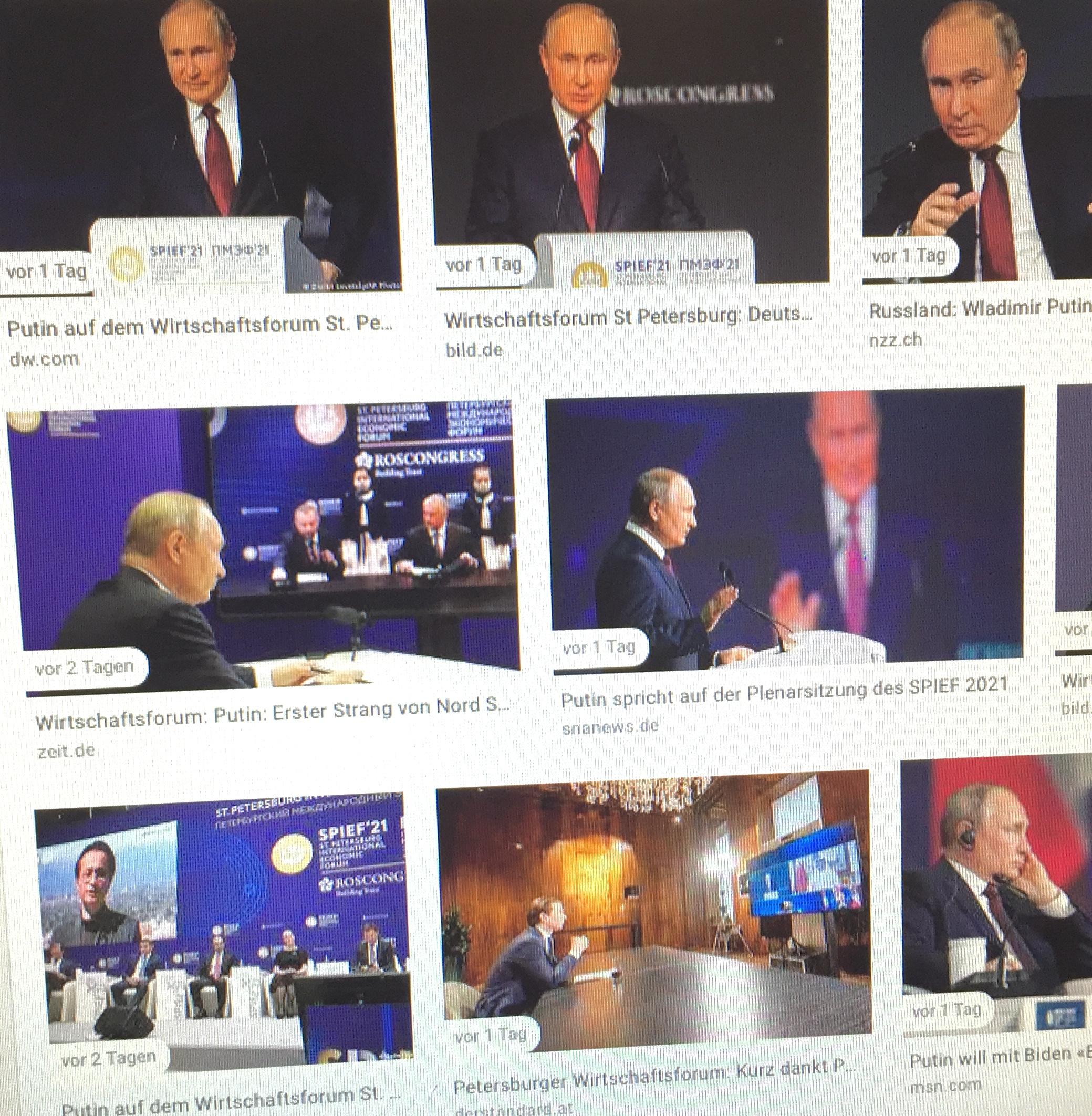 """Beim internationalen Wirtschaftsforum betonte der russische Präsident Wladimir Putin, dass Nord Stream 2 von russischer Seite aus startklar ist. Beim Klimaschutz soll der Netto-Ausstoß von Treibhausgasen in seinem Land bis 2050 stärker reduziert werden als dies in der EU der Fall sein wird. Einen entsprechenden Plan dafür hat der Kreml-Chef bereits in Auftrag gegeben. Bezüglich USA sollen bessere Beziehung an ihm nicht scheitern - ganz im Gegenteil, dort, wo Zusammenarbeit Sinn macht, etwa bei Rüstungsbegrenzung und Klimaschutz, sei er bereit. Nicht nur, dass Russland längst Exportweltmeister von """"sauberem"""" Getreide ist, auch aktuell mit Sputnik V zeigt sich Moskau kollegial gegenüber anderen Staaten. Wer fragt, dem wird geholfen.  Von Verena Daum (www.progression.at, www.garden-eden.org)"""