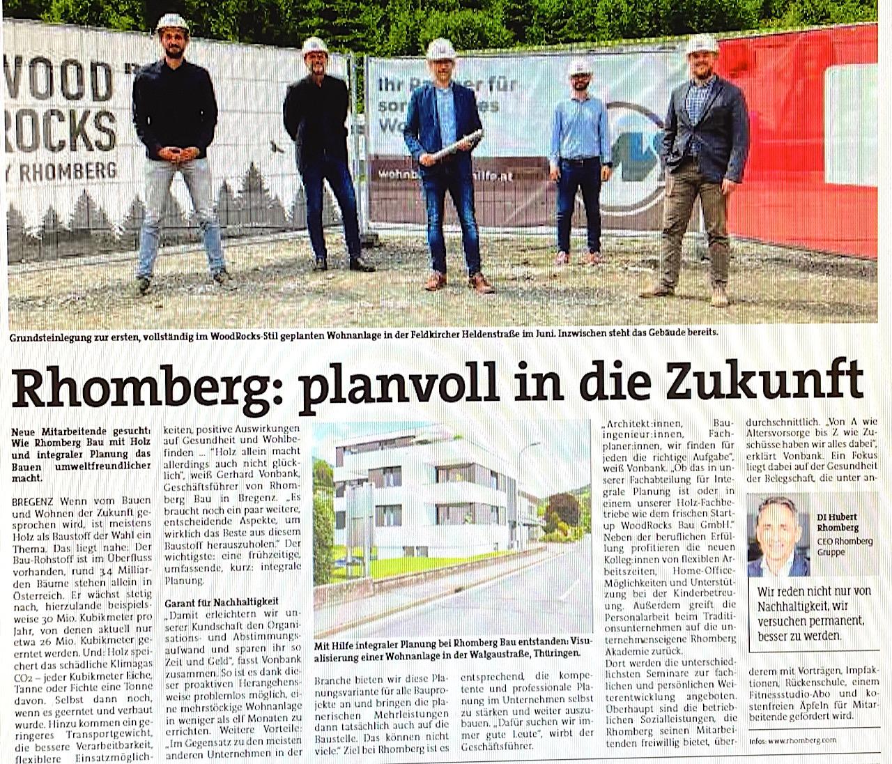 """""""Wir reden nicht nur von Nachhaltigkeit, sondern versuchen permanent, besser zu werden"""", sagt der CEO der Rhomberg Gruppe, DI Hubert Rhomberg. Neue Mitarbeitende gesucht: Wie Rhomberg Bau mit Holz und integraler Planung das Bauen umweltfreundlicher macht! Wenn vom Bauen und Wohnen der Zukunft gesprochen wird, ist meistens Holz als Baustoff der Wahl ein Thema. Das liegt nahe: Der Bau-Rohstoff ist im Überfluss vorhanden, rund 3,4 Milliarden Bäume stehen allein in Österreich. (VN-Extra """"Wertvoll"""" 17.9.21)"""