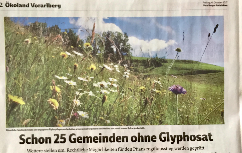 Bereits 25 Vorarlberger Gemeinden ohne Glyphosat - weitere folgen - möglicher Pflanzengiftausstieg des Landes wird derzeit geprüft, sagt Landesrat Erich Schwärzler in den Vorarlberger Nachrichten, Verena Daum www.progression.at Garden Eden Organisation