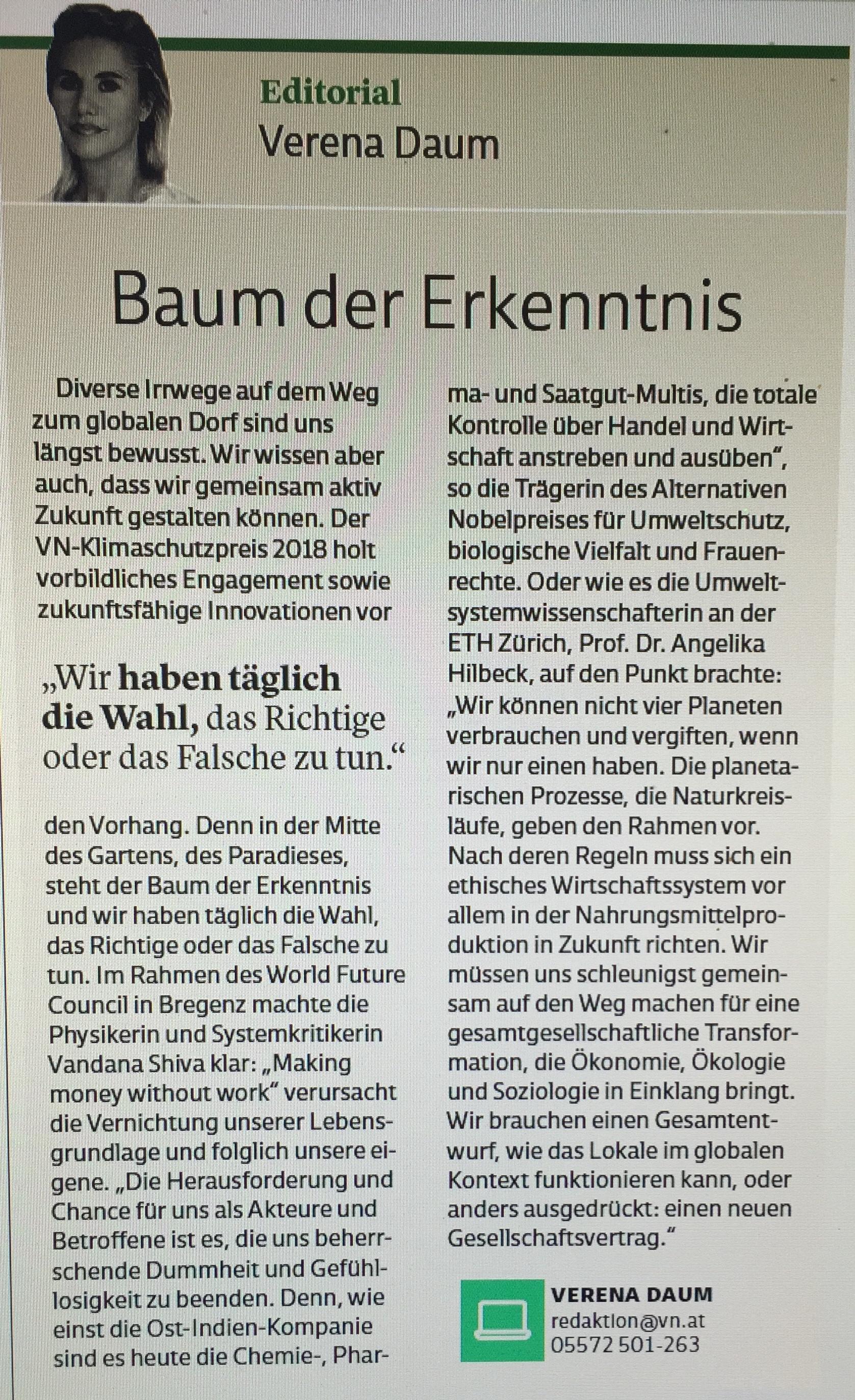 """Baum der Erkenntnis: """"Wir haben jeden Tag die Wahl das Richtige oder das Falsche zu tun."""" Verena Daum Projektleitung VN-Klimaschutzpreis 2018 Vorarlberger Nachrichten, www.progression.at, Garden Eden Organisation"""