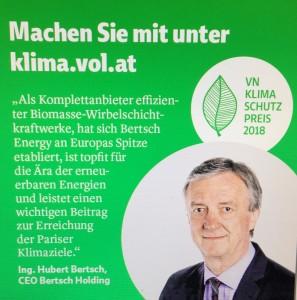 """""""Als Komplettanbieter effizienter Biomasse-Wirbelschichtkraftwerke hat sich BERTSCHenergy an Europas Spitze etabliert, ist topfit für die Ära der erneuerbaren Energien und leistet einen wichtigen Beitrag zur Erreichung der Pariser Klimaziele"""", Ing. Hubert Bertsch, CEO Bertsch Holding, Konsul der Russischen Föderation in Vorarlberg, www.bertsch.at, """"Ökopionier"""" im Rahmen des Projekts """"Klimaschutzpreis 2018"""" der Vorarlberger Nachrichten, Projektleitung Journalistin/Autorin Verena Daum, www.progression.at - """"As a full-range supplier of efficient biomass fluidized bed power plants, BERTSCHenergy has established itself at the top of Europe, is in the vanguard of the renewable energy era and makes an important contribution to achieving the Paris climate goals"""", Ing. Hubert Bertsch, CEO BERTSCHgroup, Consul of the Russian Federation in Vorarlberg, www.bertsch.at, """"Eco-pioneer"""" within the project """"Climate Protection Award 2018"""" of the Vorarlberger Nachrichten, project management journalist/author Verena Daum, www.progression.at"""