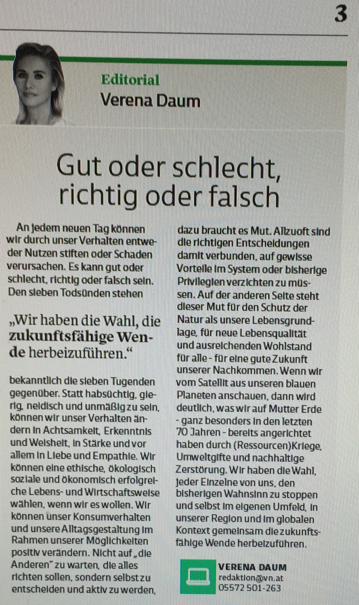"""Editorial Verena Daum """"Gut oder schlecht, richtig oder falsch"""" in der Extra-Ausgabe der Vorarlberger Nachrichten vom 3. Juli 2018, www.progression.at, Garden Eden Organisation"""