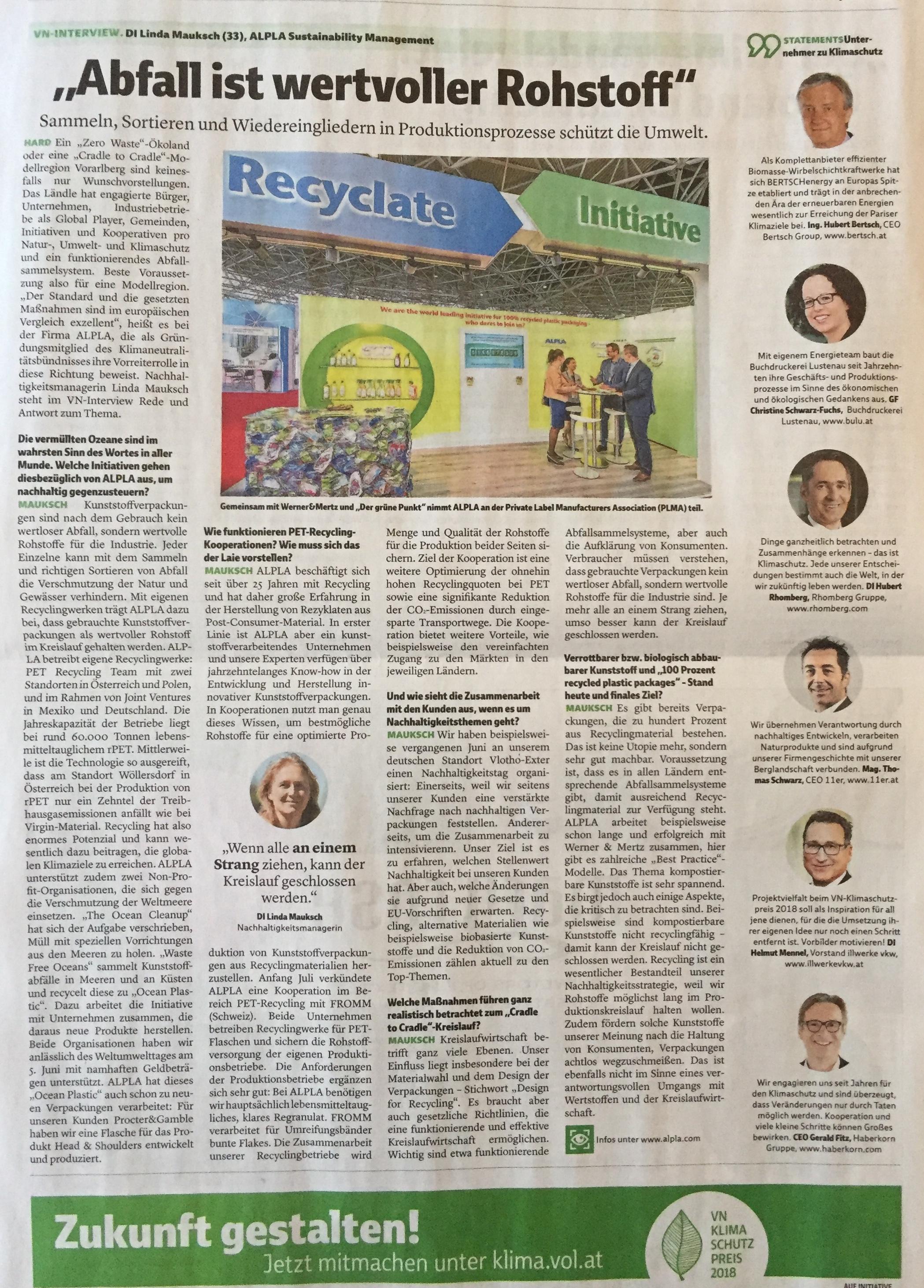 """Für innovative Unternehmen ist """"Abfall wertvoller Rohstoff"""". Die Wiedereingliederung von Abfall in Produktionsprozesse schützt die Umwelt. Artikel in der Extra-Ausgabe der Vorarlberger Nachrichten """"WERTVOLL - ökologische Initiativen für eine lebenswerte Zukunft"""", von Verena Daum www.progression.at"""